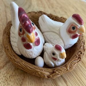 Miniature chickens in a nest rooster chick hen egg birds nest decor farmhouse